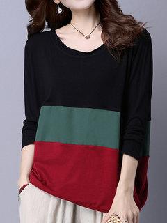 Осень Вскользь Сыпучие Три цвета Строчка вокруг шеи Блуза для женщин
