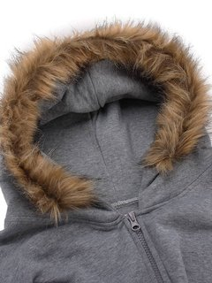 Casual Zipper Double Pocket Fur Collar Hooded Women Sweatshirt