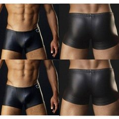 Erotic Black Faux Leather Panties G-string Elastic Stretchable Casual Thong Trunk Briefs