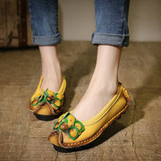 Flower Button Leather Vintage Color Match Soft Comefortable Slip On Flat Shoes