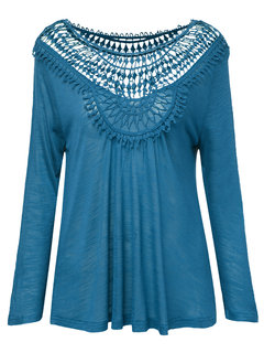 Sexy Loose Hollow Pure Color Round Neck Blouse For Women