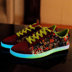 Unisex Light Up Pattern Print Mesh Breathable Lace Up Flat Sneakers