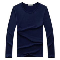 Fall Winter Mens Solid Color Base Tees Round Neck Long Sleeve T-shirt