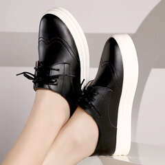 Leather British Style Soft Vintage Retro Lace Up Platform Brogue Loafers