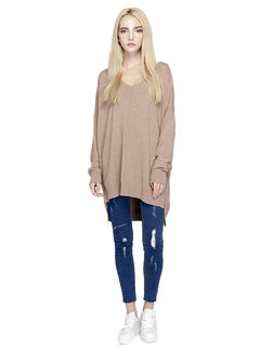 Casual Loose Women V Neck Long Sleeve Pure Color Blouse