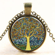 Vintage Time Stone Colorful Life Tree Necklace