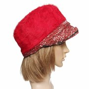 Women Fur Wool Flower Beret Cap Winter Warm Beanie Ski Hat