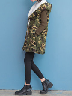 Fashion Loose Camouflage Hooded Both Sides Wear Coat For Women