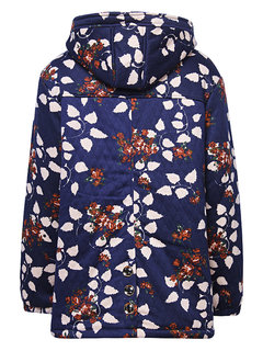 Casual Printed Long Sleeve Button Hooded Thicken Coat For Women