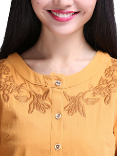 Yellow Embroidery Long Sleeve Ginger Vintage Women  Dress