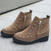 Rivet Button Ankle Side Zipper Pure Color Flat Boots