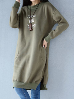 Women Casual Letter Print Thicken Long Sleeve Hoodie