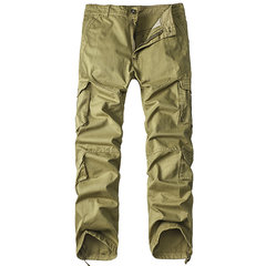 Mens Cargo Pants Multi-pocket Solid Color Straight Leg Outdoor Cotton Trouser