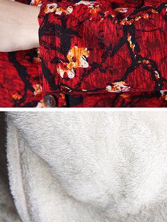 Кнопка Цветочные Печатный нагрудные с длинным рукавом Сгустите Длинные пальто для женщин