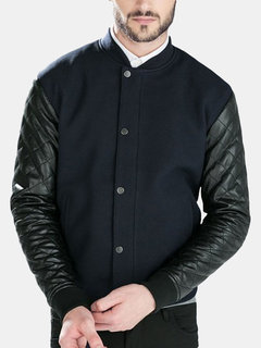 Men's Casual Stylish PU Leather Sleeve Splice Large Size Baseball Jacket