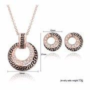 Розовое золото сплав Кристалл Круг комплект ювелирных изделий