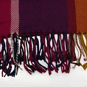 Women Long Tassel Plaid Scarf Winter Thermal Colorful Plaid Scarf Cape