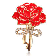 Elegant Enamel Crystal Red Carnation Flower Brooch