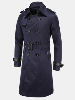 Mens Winter Trench Coat Turndown Collar Double-breasted Slim Fit Long Outwear