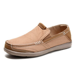 Men Leather Color Match Soft Comfortable Casual Slip On Flat Loafers