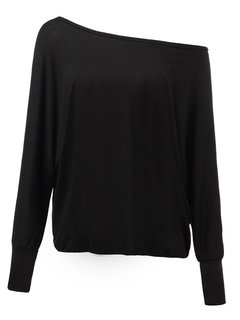 Women Long Sleeve O Neck Pure Color Off Shouler Sexy T-shirt