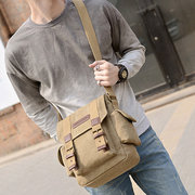 Men Canvas Casual Travel Outdoor Black Khaki Green Shoulder Crossbody Bag