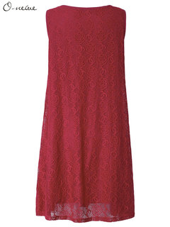 Sexy Women Sleeveless Solid Lace Crochet Hollow Party Dress