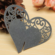 10Pcs Heart Wedding Name Place Cards  Wine Glass Laser Cut Pearlescent Card Party Accessories