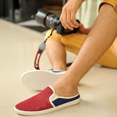 Men Mesh Breathable Hollow Out Korean Style Slip On Flat Loafers