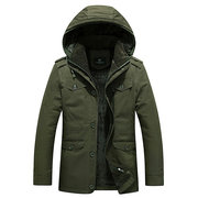 Winter Outdoor Casual Thicken Warm Multi Pockets Slim Detachable Hood Jacket for Men