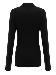 Women Long Sleeve Bandage Buttons Pure Color Slim Shirts