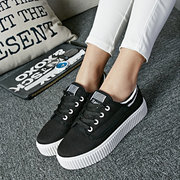 White Canvas Color Match Korean Style Lace Up Flat Casual Shoes