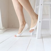 Summer Pure Cotton Low Cut Peep Toe Invisible Skidproof Ankle Liner Socks