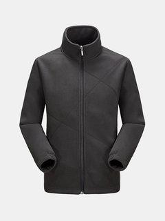 Мужская poolar руно Подкладка мягкий теплый воротник стойка молнии повседневные куртки Outwears