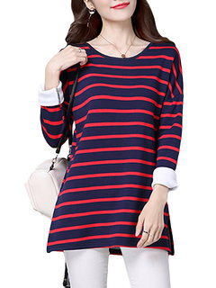 Casual Stripe O-Neck Long Sleeve Thicken Blouse For Women