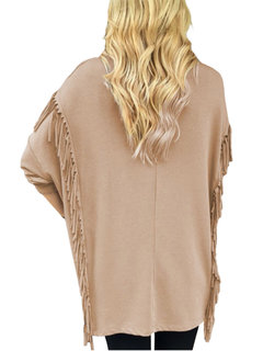 Casual Women Long Sleeve Tassel Leisure Solid Cotton Shirts