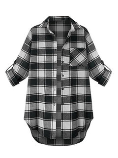 Casual Plaid Letter Printed Long Sleeve Lapel Loose Women Blouse