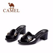 Camel Metal Leather Slip On Peep Toe Square Heel Office Casual Sandals Slippers