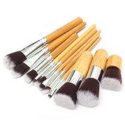 11 Pcs Wood Handle Makeup Brush Set Eyeshadow Foundation Concealer Cosmetic Tool