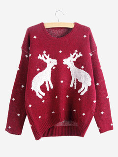 Women Christmas Cartoon Printed Long Sleeve Pullover Knit Sweater