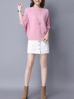 Elegant Solid O-Neck Batwing Sleeve Pullover Thin Sweater For Women