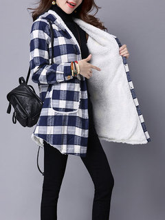 Casual Plaid Long Sleeve Hooded Button Thicken Coat For Women