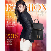 Women Students School Bags Draw String PU Leather Printing Satchel Shoulder Bags Backpack