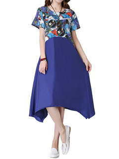 Women Short Sleeve Printed Patchwork A-Linen Swing Dress