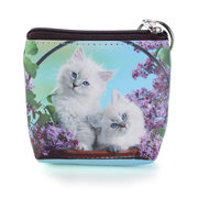 Cute Cat Pattern Women Leather Mini Wallet