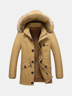 Winter Outdoor Casual Thicken Warm Multi Pockets Solid Color Fur Hooded Jacket for Men