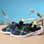 Большой размер Красочные вязания Плетение Two Way Ношение поскользнуться на плоский пляж обувь