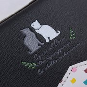 Long Pattern Cat Printing PU Leather Wallet