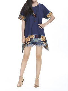 Batwing Ethnic Splicing Loose  Women Casual T-Shirt