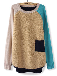 Fleece Patchwork Pocket Long Sleeve Knit Pullover Sweater